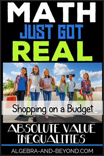 REAL WORLD PROJECT: Absolute Value Inequalities. This project reinforces students understanding of absolute value inequalities in a fun way! Integrates technology, shopping, and math for a perfect PBL activity.